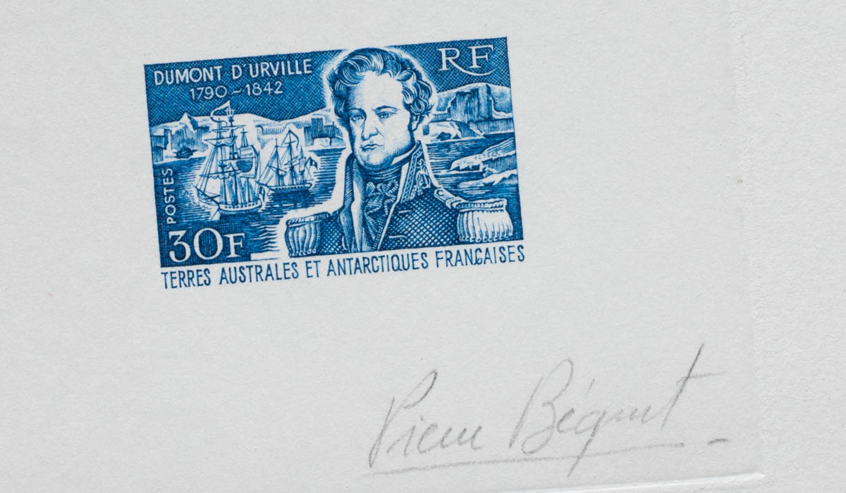 French Antarctic Admiral Dumont D'Urville artist's proof stamp close-up