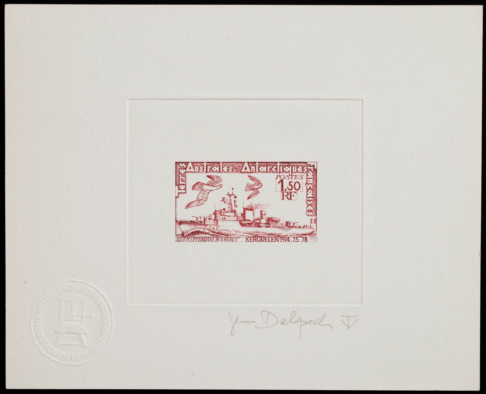 French Antarctic Bourdais Stamp Artist's Proof